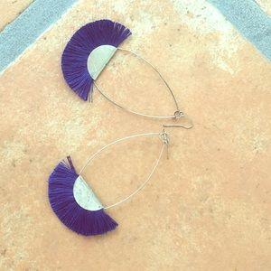Jewelry - Fringe blue thread earrings